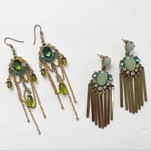Green Chandelier Dangle Earrings Set 2 Gold Tone